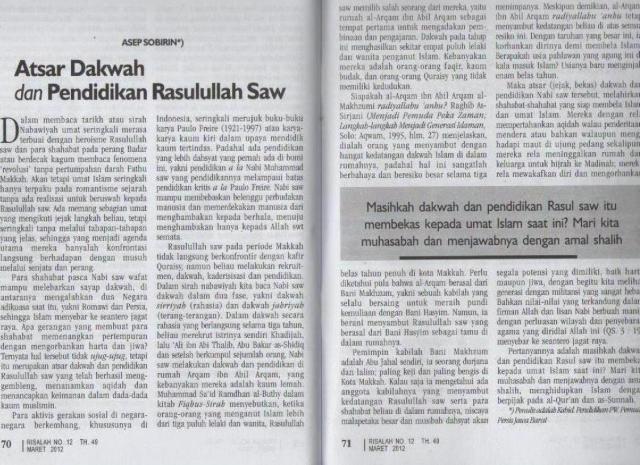 Risalah No.12 TH. 49, Maret 2012, hlm. 70-71 Judul: Atsar Dakwah dan Pendidikan Rasulullah Saw